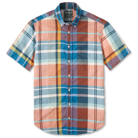 Faded Hemp Blend Plaid Regular Shirt - Blue