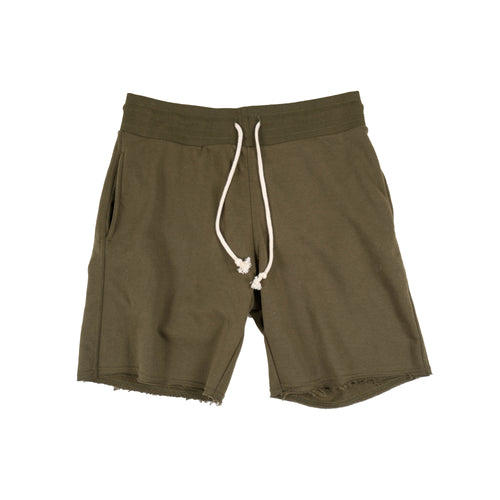 Distressed French Terry Shorts - Military Green