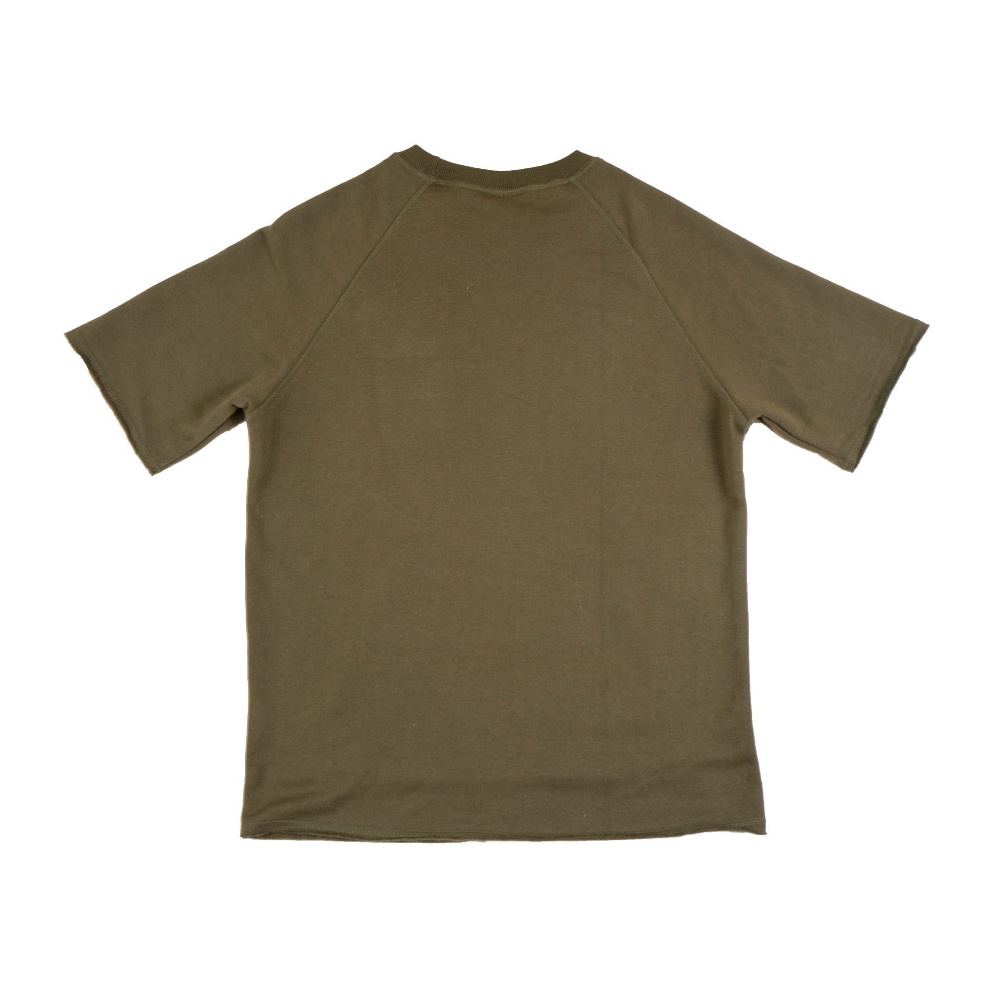 Distressed French Terry SS Top - Military Green