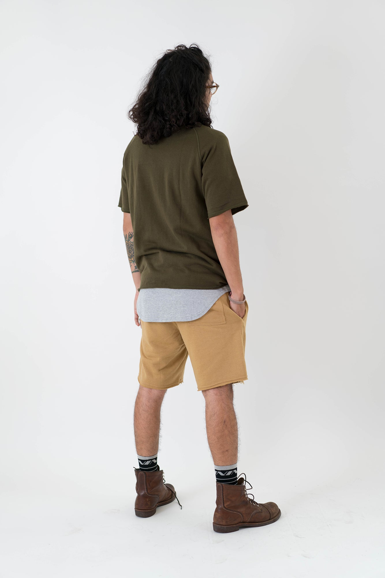Distressed French Terry Shorts - Sand