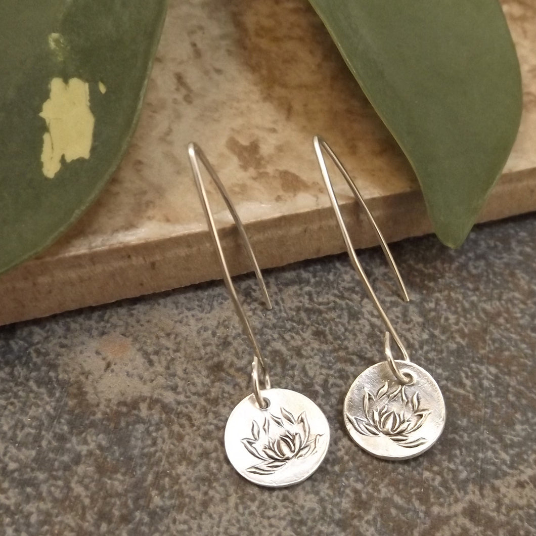 Brynn - Silver Lotus Earrings
