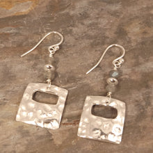 Load image into Gallery viewer, Hammered Silver Gemstone Earrings