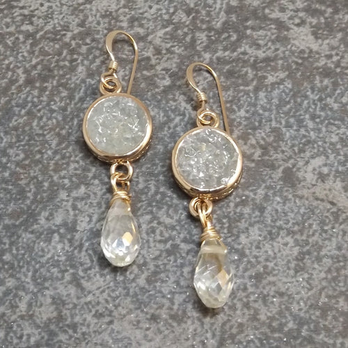Bijoux - Druzy and Gold Earrings