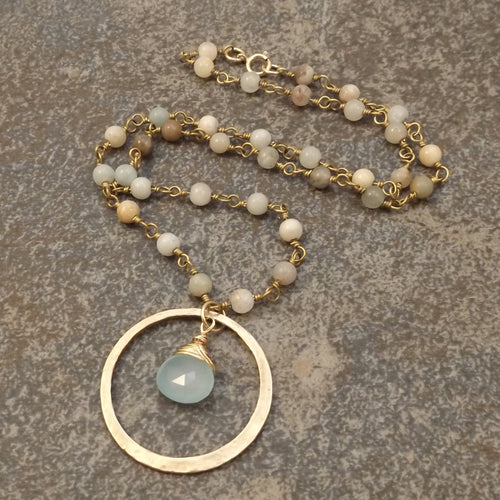 Brynn - Bronze Hoop and Amazonite Necklace