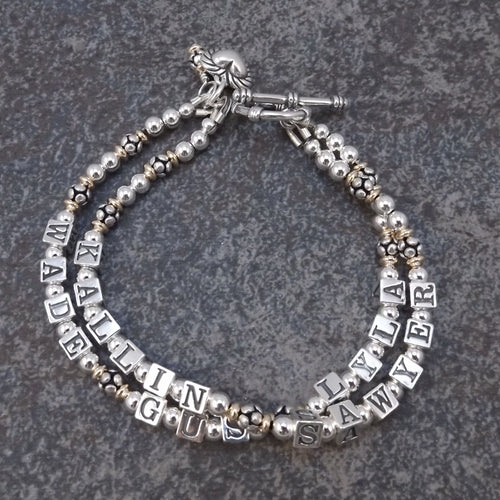 Silver and Gold Mother's  Bracelet