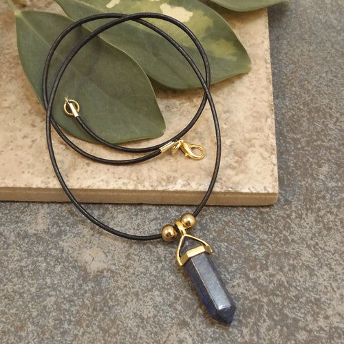Sodalite and Leather Necklace
