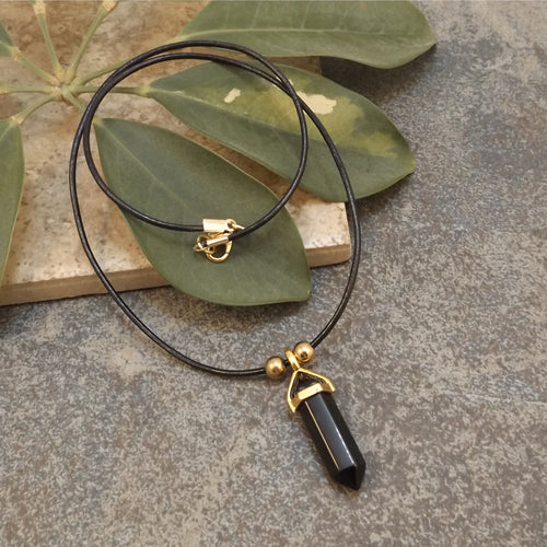 Black Onyx and Leather Necklace