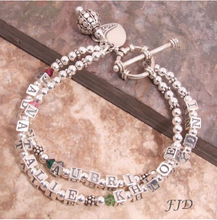 Load image into Gallery viewer, Mother's Name and Birthstone Bracelet