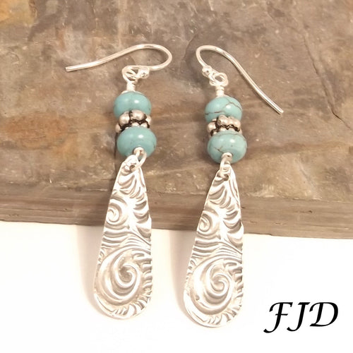 Silver and Turquoise Howlite Earrings