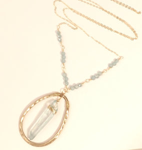 Christal - Hammered Bronze, Raw Quartz and Gold Necklace