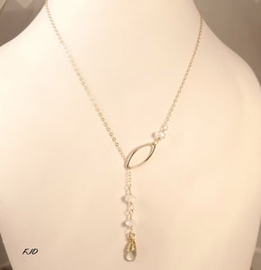 Gemma - Gold and Gemstone Lariat Necklace