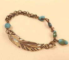 Load image into Gallery viewer, Hayley - Feather and Turquoise Bracelet