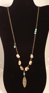 Hayley - Turquoise, Citrine and Bronze Necklace