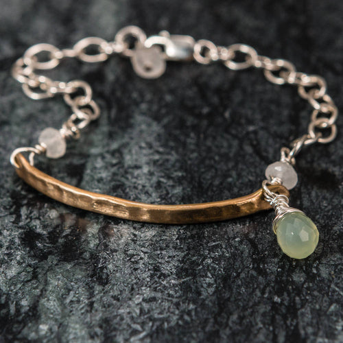 Gemma - Hammered Bronze and Sterling Silver Bracelet