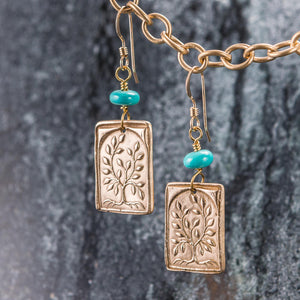 Bronze and Gold Earrings - Tree of Life