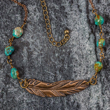 Load image into Gallery viewer, Hayley - Feather and Turquoise Necklace