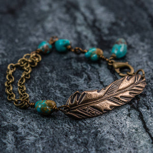 Hayley - Feather and Turquoise Bracelet