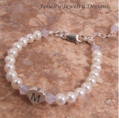 Baby Bracelet - Pearl and Silver