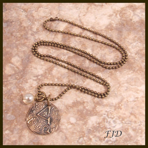 Hand Stamped Bronze Initial Necklace