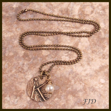 Load image into Gallery viewer, Hand Stamped Bronze Initial Necklace