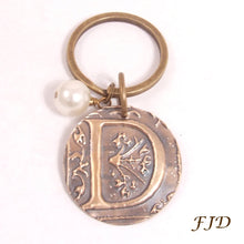 Load image into Gallery viewer, Hand-Stamped Bronze Initial Keychain