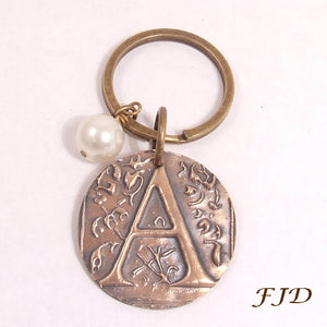 Hand-Stamped Bronze Initial Keychain