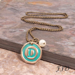 Hand-Stamped Bronze Initial Necklace - Typewriter Style