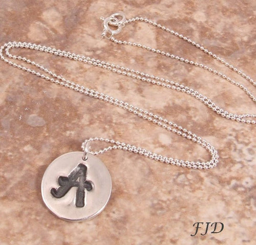 Fine Silver and Sterling Silver Initial Necklace