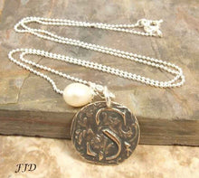Load image into Gallery viewer, Bronze and Sterling Silver Initial Necklace