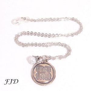 Wax Seal Hand-Stamped Bronze Initial Necklace