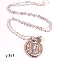Load image into Gallery viewer, Wax Seal Hand-Stamped Bronze Initial Necklace