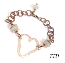 Load image into Gallery viewer, Aspen -  Hand formed Bronze Heart Charm Bracelet