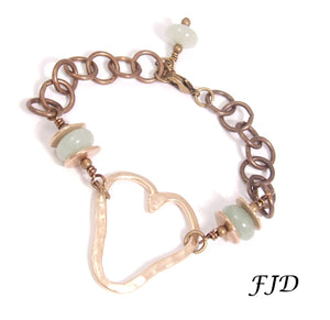 Aspen -  Hand formed Bronze Heart Charm Bracelet