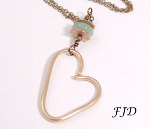Aspen -  Hand formed Bronze Heart Charm Necklace