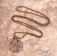 Load image into Gallery viewer, Hand-Stamped Bronze Initial Pendant Charm