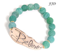 Load image into Gallery viewer, Hand-Stamped Bronze Inspiration Bracelet - Believe