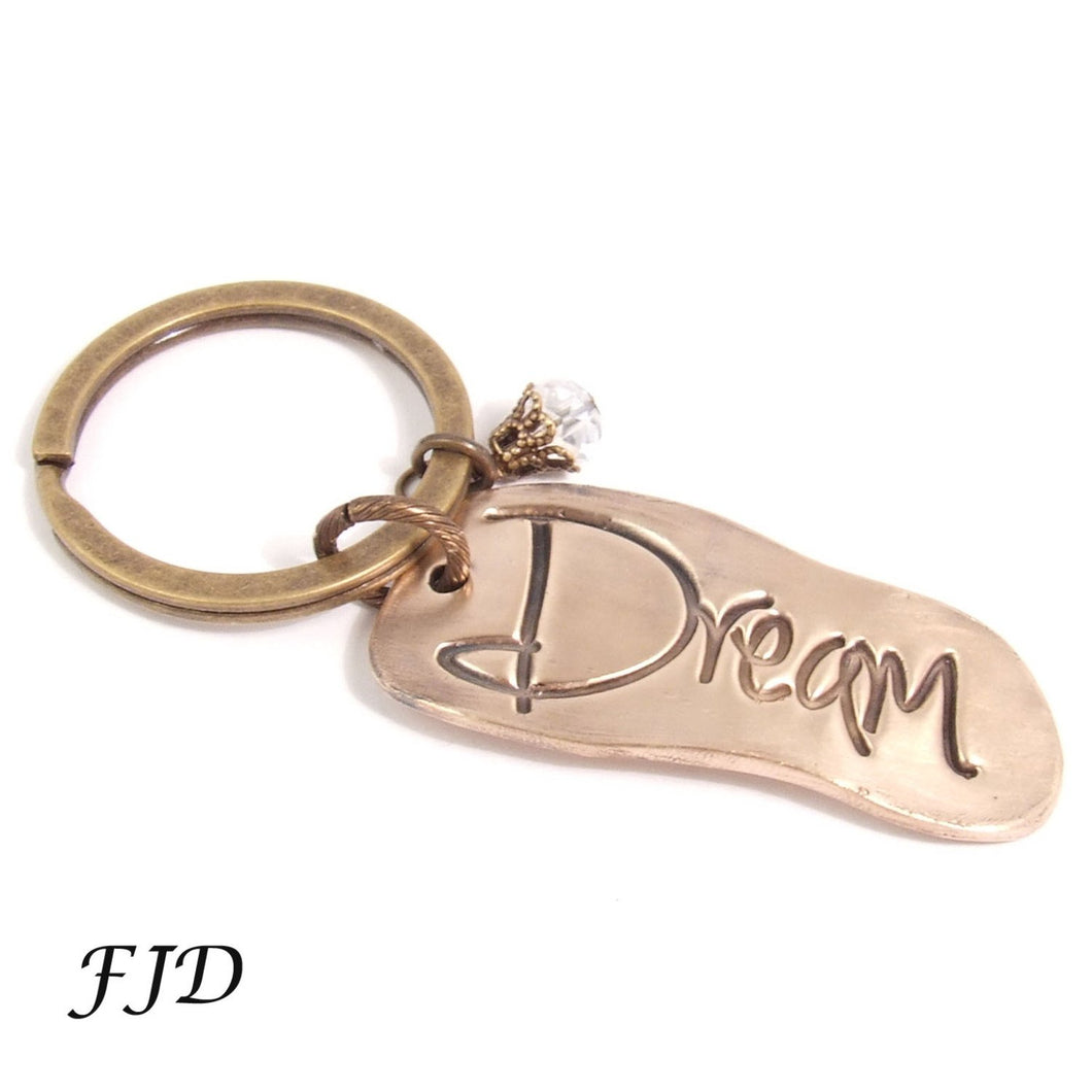 Hand-Stamped Bronze Keychain - Dream