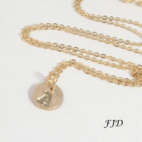 Gold and Hand-Stamped Bronze Initial Necklace