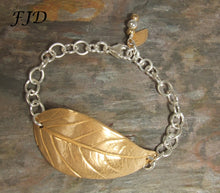 Load image into Gallery viewer, Hand Crafted Bronze Leaf with Sterling Silver Bracelet