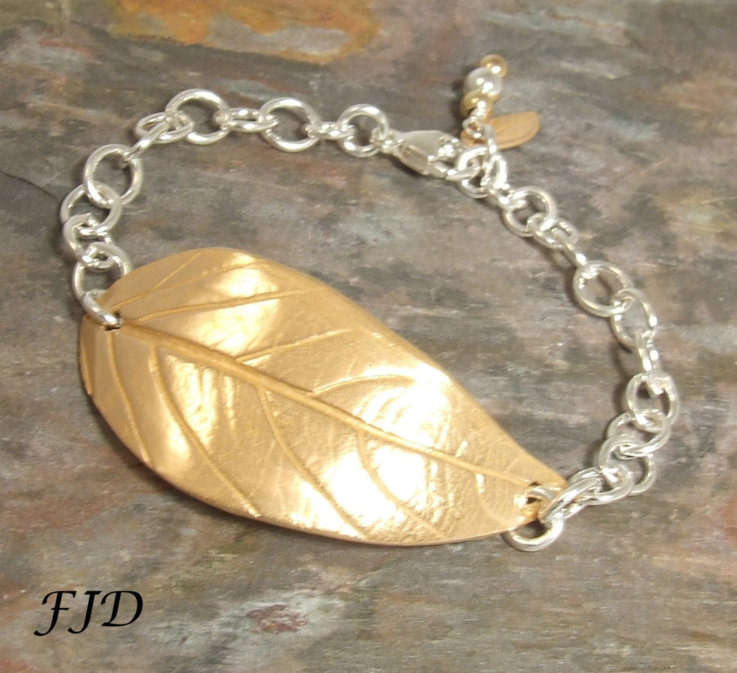 Hand Crafted Bronze Leaf with Sterling Silver Bracelet