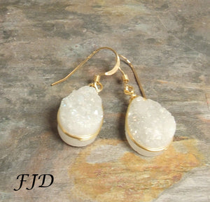 Bijoux - Druzy and Gold Fill Earrings
