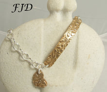 Load image into Gallery viewer, Hand Stamped Bronze and Sterling Silver Bracelet