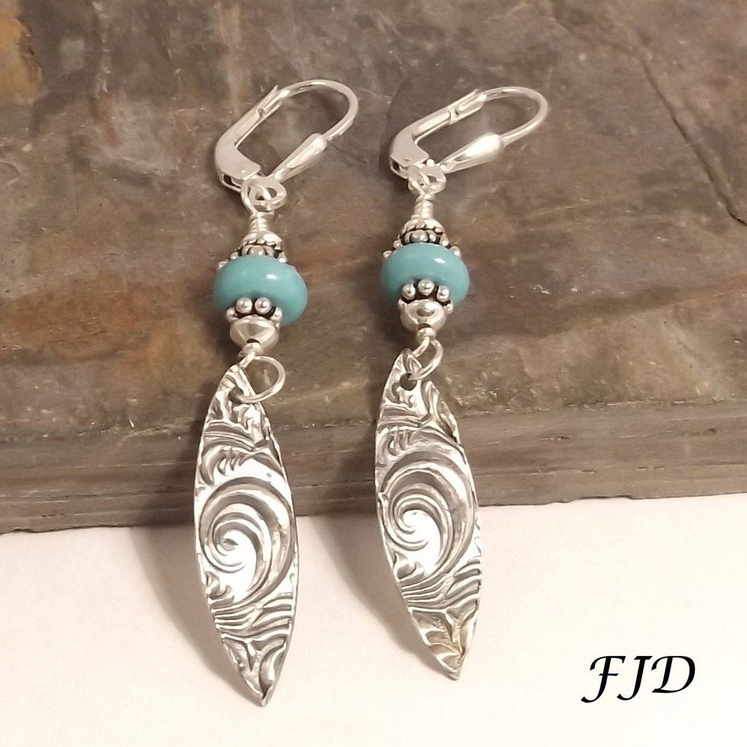 Fine Silver, Turquoise Jasper and Sterling Silver Earrings