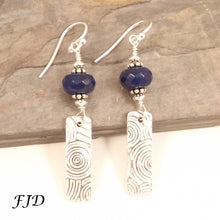 Load image into Gallery viewer, Fine Silver, Jade and Sterling Silver Earrings