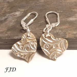Sterling Silver and Bronze Heart Earrings