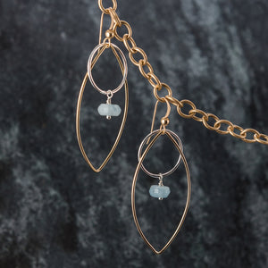 Azure - Silver and Gold Marquise Earrings