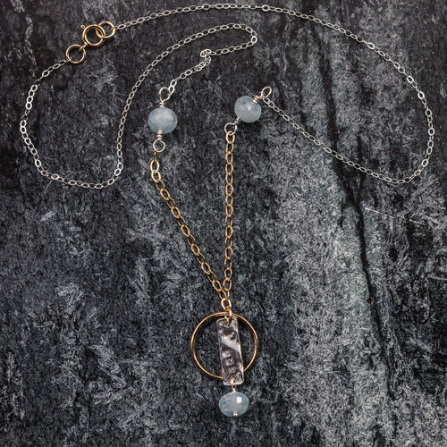 Azure - Silver and Gold Gemstone Necklace