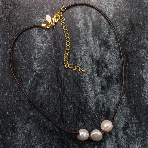 Freshwater Pearl Trio and Leather Choker