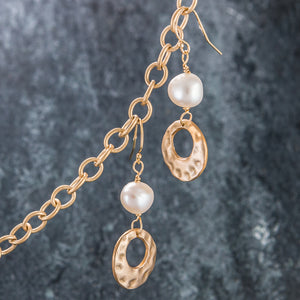 Bronze and Stone - Pearl and Bronze Earrings