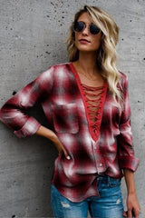 Jorie Plaid Lace-Up Top